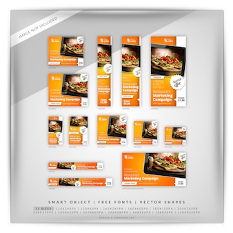 Set di banner google food & restaurant