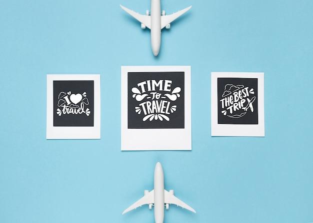 Set di citazioni di lettering motivazionali per le vacanze che viaggiano concetto