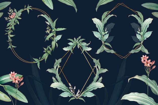 Set di cornici vuote con design di foglie verdi
