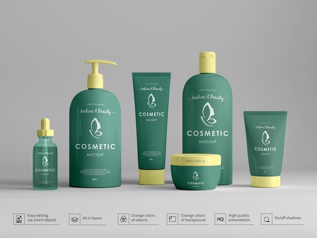 Set di flaconi per cosmetici di crema e prodotti per la cura della pelle mockup