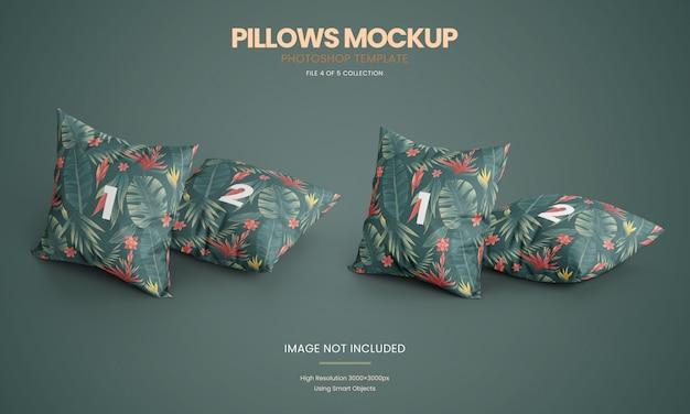 Set di mockup di cuscini in piedi