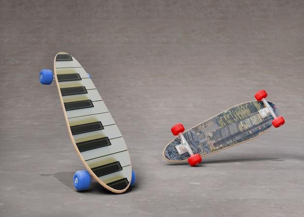 Set di skateboard mock-up con disegni