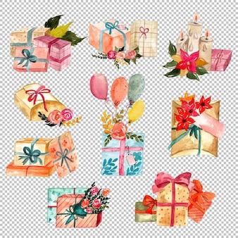 Set geschenkdozen met ballonnen en kaarsen aquarel illustraties