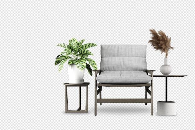 Set interieur meubelen in 3d-rendering
