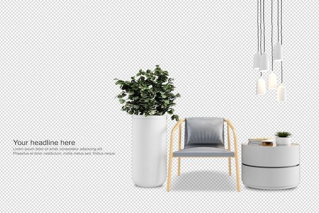 Set interieur meubels in 3d-rendering