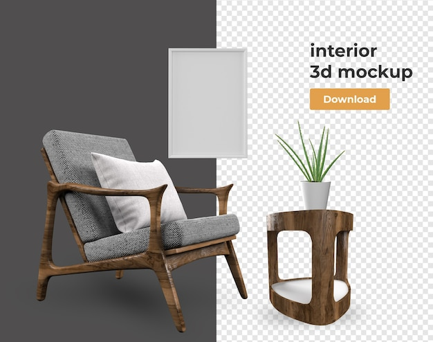 Set interieurdecoratie in 3d-rendering
