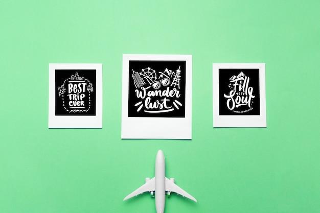 Set de letterings o frases emotivas sobre viajar en vacaciones