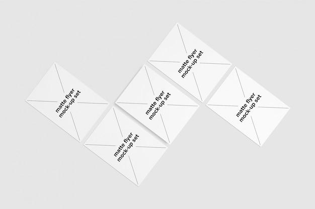 Set de mock up de folletos con forma geométrica
