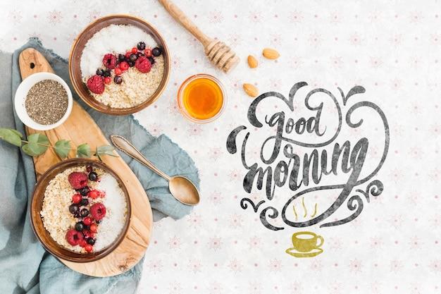 Set ontbijt granola kommen