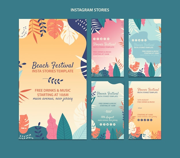 Set de plantillas de historias de instagram de festival en la playa