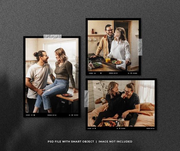 Set polaroid-fotomodel met schaduwoverlay