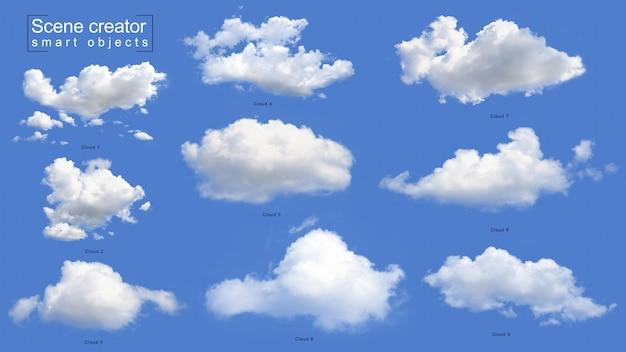 Set realistico nuvola bianca