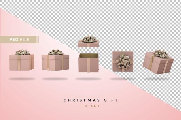 Set roze kerst geschenkdoos. 3d-set