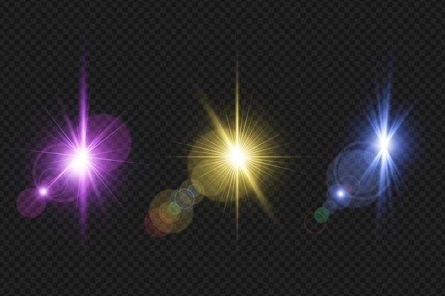 Set transparante digitale lensfakkels