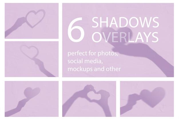 Set van 6 moderne minimalistische valentijn schaduwen met hartjes en handen op een witte muur.