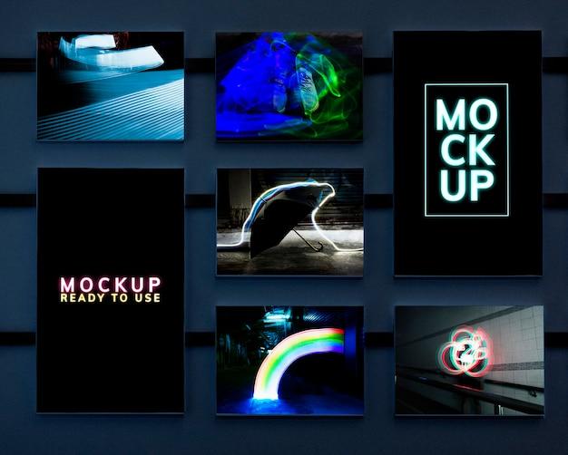 Set van artistieke neonlichten mockup