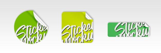 Set van drie moderne stickers mockup