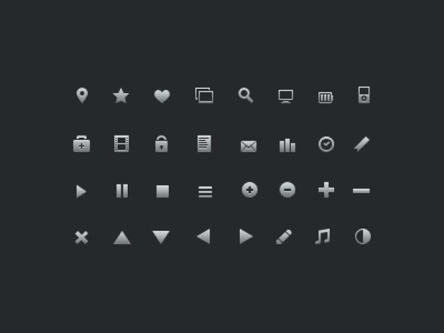 Set van glyphs pictogrammen