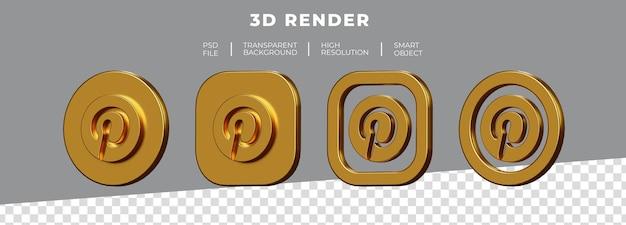 Set van gouden pinterest-logo 3d-rendering geïsoleerd