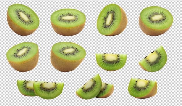 Set van halve kiwi's en plak voor uw ontwerp