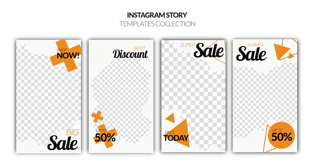 Set van instagram verhalen verkoop banner