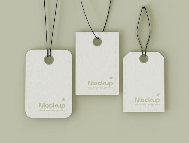 Set van label prijskaartjes mockup
