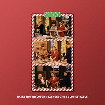 Set van landschapspapier frame mockup voor kerstmis