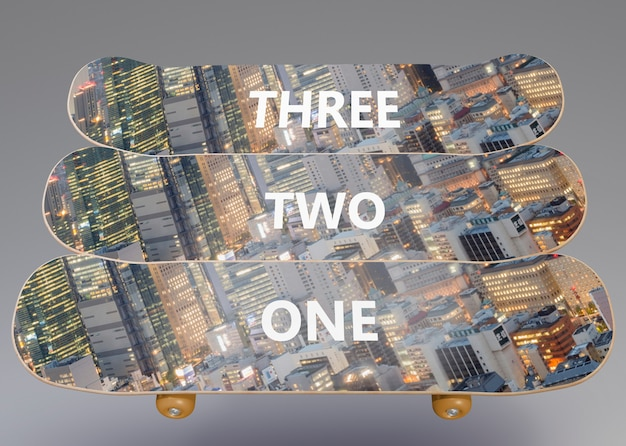 Set van moderne skateboards met mock-up
