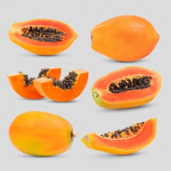 Set van papaja op transparant.