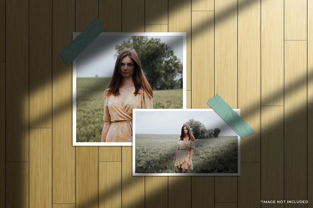 Set van papieren frame fotomodel met raamschaduwoverlay en houten achtergrond