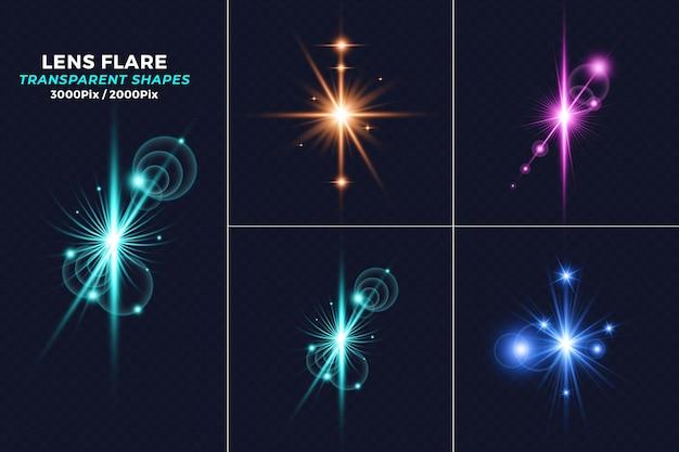 Set van realistische gloeiende lens flares-collecties