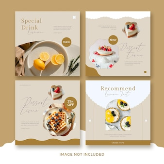Set van restaurant vierkante sjabloon voor spandoek met abstracte golf premium psd