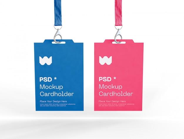 Set van twee badge-identiteitskaarten mockup