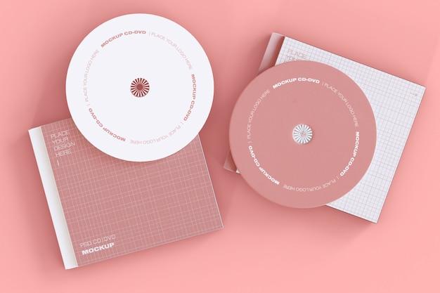 Set van twee cd-schijven mockup