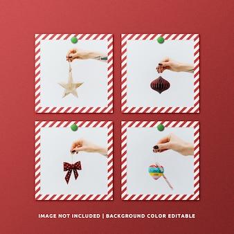 Set van vierkant papier frame mockup voor kerstmis