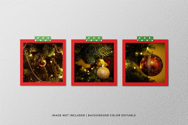 Set van vierkante fotomodellen van papier voor kerstmis