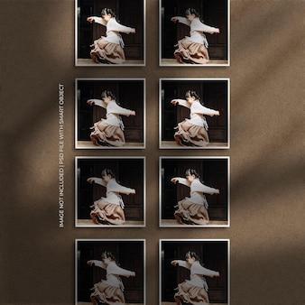 Set van vierkante papieren frame foto mockup met schaduw