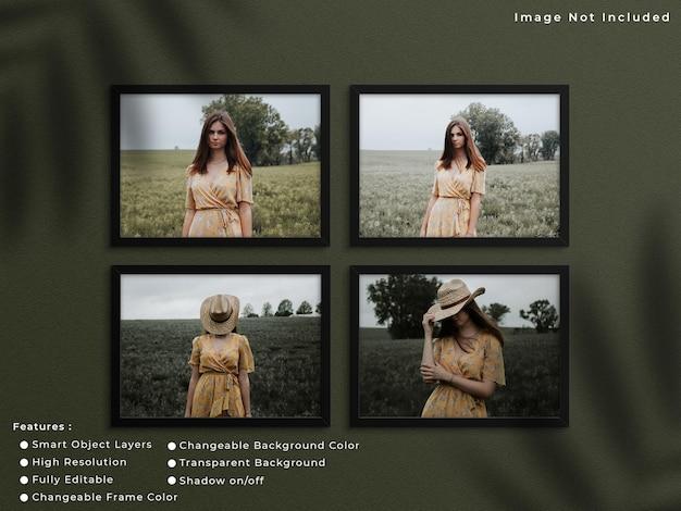 Set van zwarte horizontale fotolijst mockup opknoping op muur achtergrond met schaduw.