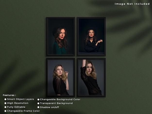 Set van zwarte verticale fotolijst mockup opknoping op muur achtergrond met schaduw.