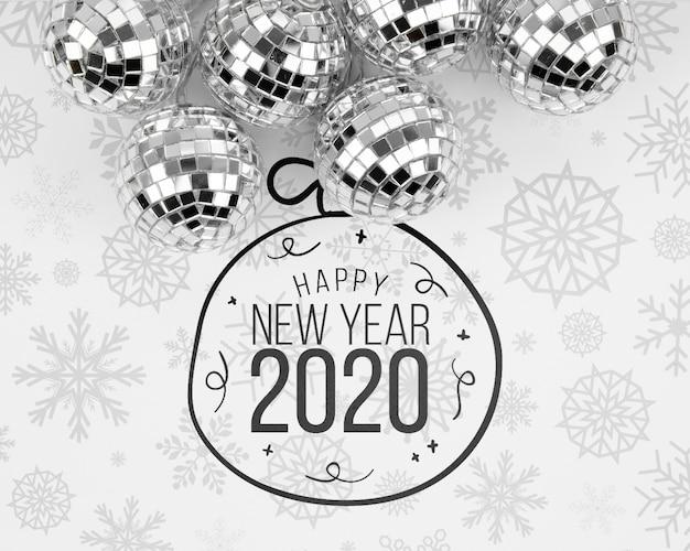 Sfere d'argento di natale con doodle di felice anno nuovo 2020