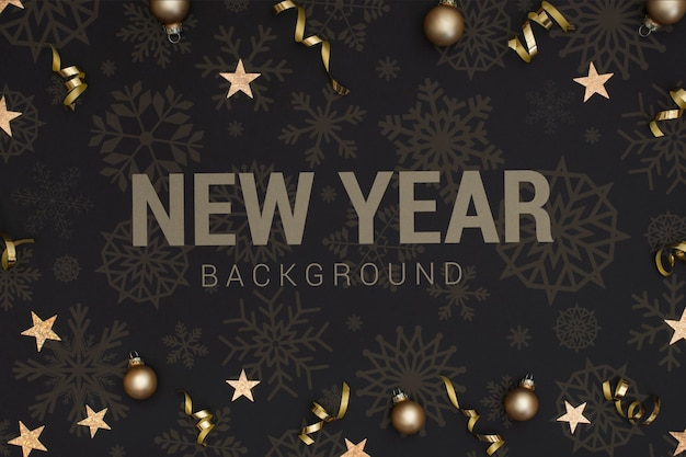 Sfondo del nuovo anno 2020 con stelle e palle di natale