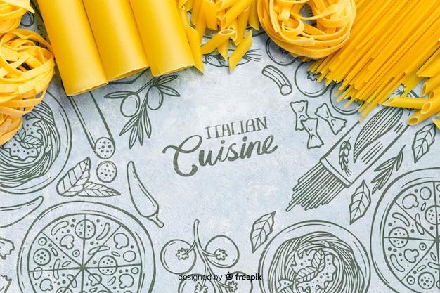 Sfondo di cibo delizioso telaio di pasta