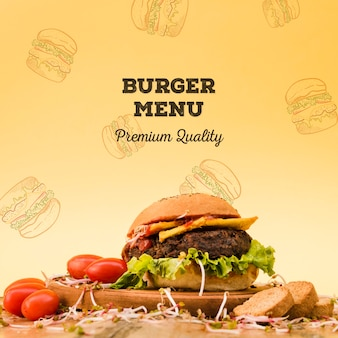 Sfondo di menu gustoso hamburger di manzo