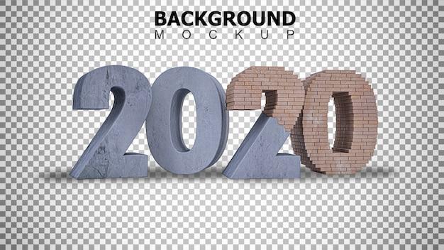 Sfondo di mockup per rendering 3d in costruzione testo 2020 sfondo