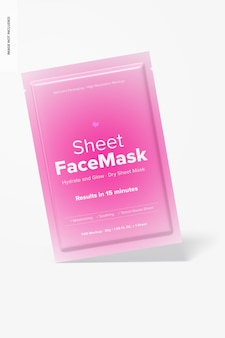 Sheet face mask mockup, leaned