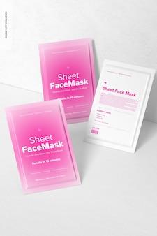 Sheet face mask set mockup