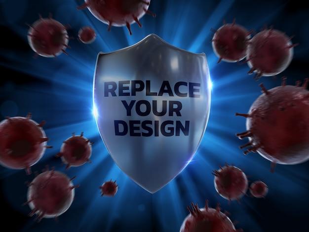 Shield protection mockup 3d rendering design