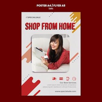 Shop vanuit huis poster sjabloon Gratis Psd