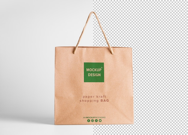 Shopping bag di carta marrone tagliato mockup