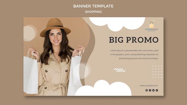 Shopping modello di banner promozionale grande